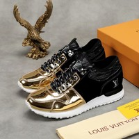 LV Louis Vuitton Men's Leather Run Away Sneakers Shoes