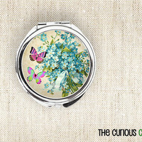 Cottage Chic Vintage Butterfly Floral - Compact Mirror Round Pocket Mirror or Makeup Mirror