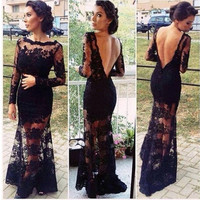 Women Sexy Lace Backless Long Sleeve Cocktail Prom Gown Dress