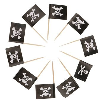 New Hot 50Pcs Skull Flags Banner Pick Paper Toothpick Food Cupcake Cocktail Halloween Party Favor for Birthday Cake Decoration