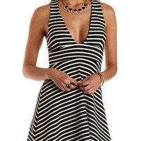 Black/White Plunging Striped Skater Dress by Charlotte Russe