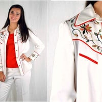 Vintage western shirt, western shirt and pants, white orange, embroidered western shirt, 1970s pant suit, Size M/L