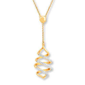 Spiral Diamond Necklace 1/15 Carat tw 10K Yellow Gold
