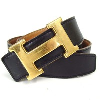Authentic HERMES Constance H belt □ E Marking Belt Leather/Metal[Used]