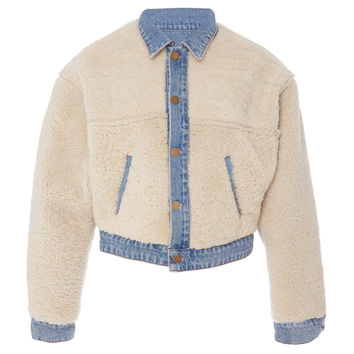 Sarai Reversible Cropped Shearling And Denim Jacket | Moda Operandi