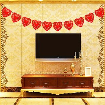 300CM Red Hearts Bunting Banner Non-woven Fabric Flags Rope Party Garland Wedding Events Decoration