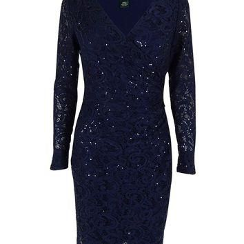 Lauren Ralph Lauren Women's Long Sleeve Sequined Lace Faux Wrap Dress
