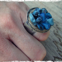 Bohemian turquoise ring - Bohemian jewelry - blue gemstone ring - large statement ring - zodiac ring - december birthstone