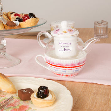 Memories are made with mom - Bone China with Glass Tea For One