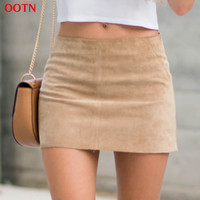 OOTN fashion brief bodycon beige  women above knee skirt corduroy a-line pencil mini skirts