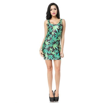 Apocynum Venetum Print Tank Dress