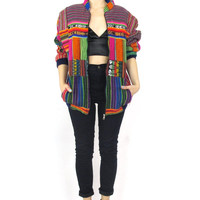 Vintage Guatemalan Bomber Jacket Ethnic Boho Tribal Rainbow Patchwork Striped Colorful Unisex Jacket (M/L)