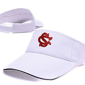 ZHHUA South Carolina Gamecocks Logo Adjustable Embroidery Tennis Golf Baseball Hat Sun Visor Cap White