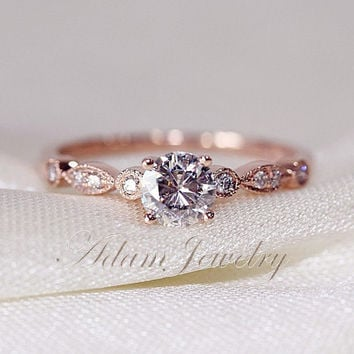 Fancy VS Moissanite Ring VS Accent Diamonds 14K Rose Gold Engagement Ring /Wedding Ring/ Promise Ring