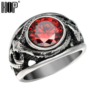 HIP Punk Vintage Black Cubic Zirconia Snake Ring Titanium Stainless Steel Antique Natural Stone Rings for Men Rock Jewelry