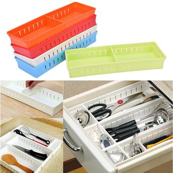5 Colors Storage box Adjustable Desk Drawer Organizer Board Divider Stationery Holder