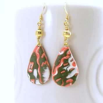 Southwestern Dangle Earrings / Polymer Clay Jewelry / Abstract Wearable Art