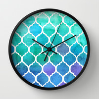 Emerald & Blue Marrakech Meander Wall Clock by Micklyn