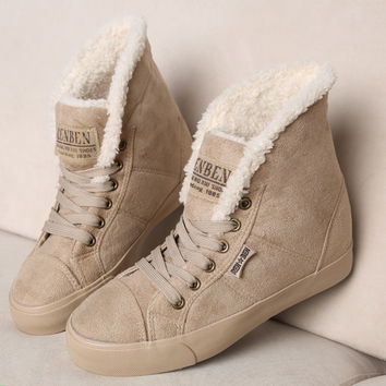 Fashion Winter Boots Botas Mujer Fur Snow Shoes Women Ankle Boot Flat Heels