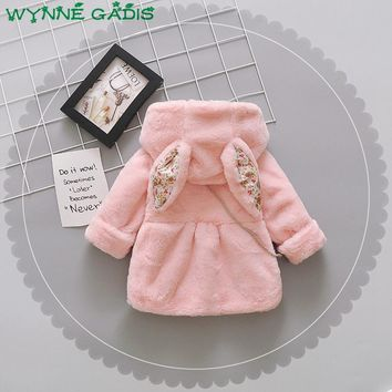 WYNNE GADIS Winter Infant Baby Faux Fur Fleece Long Sleeve Hooded Thick Warm Jacket Girls Outerwear Kids Snow Wear Coat casaco