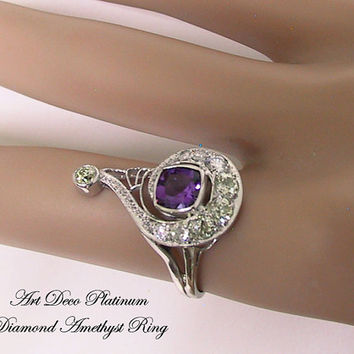 Platinum Diamond Amethyst Art Deco Ring, Art Deco Engagement Ring, Art Deco Jewelry