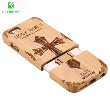 FLOVEME Wooden Case For iPhone 6 6S Plus 5S 5 SE 3D Wood Bamboo Wolf Cross Cover