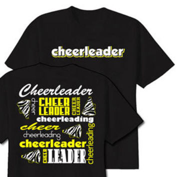 Neon zebra cheerleader t shirt from Cheerleading t shirt designs