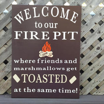 Welcome To Our Fire Pit, Wood and Vinyl Sign, Friends and Marshmallows Get Toasted, Firepit Sign, Camping Sign, Patio Sign, Summertime