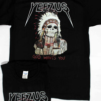 Yeezus shirt god wants you kanye west tour tee  yeezy clothing unisex size S,M,L,XL,XXL,and 3XL Black and white