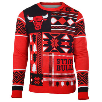 Chicago Bulls Forever Collectibles KLEW Patches Ugly Sweater Sizes S-XXL w/ Priority Shipping