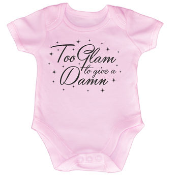 123t USA Baby Too Glam To Give A Damn Funny Babygrow