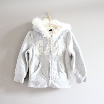 GAP toddler grey hoodies shearling lining sequined faux fur trim hood size 2 - 3 years old
