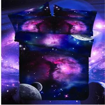 Galaxy Bedding Set Universe Outer Space Themed Bed set duvet cover  Print Bedlinen Sheets Twin Single Queen Full Size
