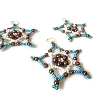 set of 3 five pointed seed bead stars, beaded ornament for christmas in turquoise,white and brown, decoration item or gift tag