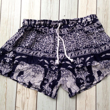 Dark Blue Elephant Shorts Printed Shorts Aztec Ethnic Ikat Unique Boho Beach Summer Clothing Boxer Comfy Clothes Cute Wear w Tank Top