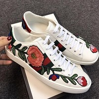 Trendsetter Gucci Woman Fashion Flower Embroidery Flats Shoes Sneakers Sport Shoes