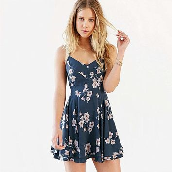 PEAPIX3 Print Spaghetti Strap Summer Sexy  Floral One Piece Dress [9022452100]