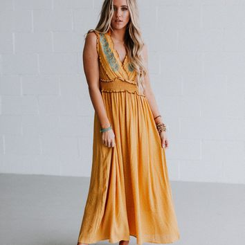 Costa Mesa Embroidered Maxi Dress - Mustard