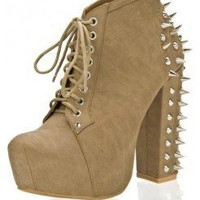 TAUPE SPIKE HEEL LACE UP BOOTIE WITH STUDS AND SPIKES ACCENT @ KiwiLook fashion