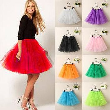 ea8ba0d80d15 Women Girl Princess Ballet Tulle Tutu Skirt Wedding Prom Rockabi
