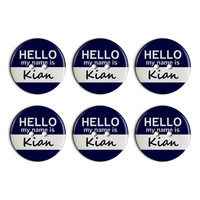 Kian Hello My Name Is Plastic Resin Button Set of 6
