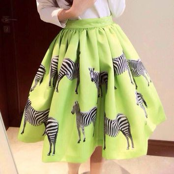 Print Animal Zebra Pleated Double-layer Flared Short Tutu Skirt