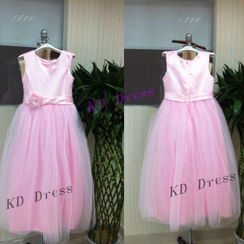 20% OFF Soft Tulle Skirt Pink Satin Junior Bridesmaid Dress Children Birthday Party Dress Kids Dress With Ribbon/Flower