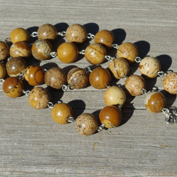 Men's Picture Jasper Necklace ~ Natural Jasper Stones ~ Unisex Jewellery ~ Healing Stones ~ Meditation Stones ~ Birthday Gift ~ Holiday Gift