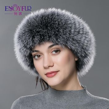 ENJOYFUR Autumn Winter women fur headband real fox fur scarf warm ear protecter headband 2016 new women knitted fur headwarps