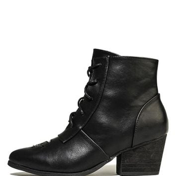 Women's Aura Black Heeled Booties