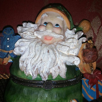 Cute Ceramic Aurora Green Santa Claus Trinket Box/Figurine