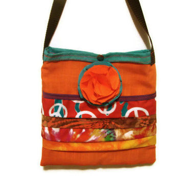 Tote Bag/Orange and Turquoise Ruffled Tote Bag