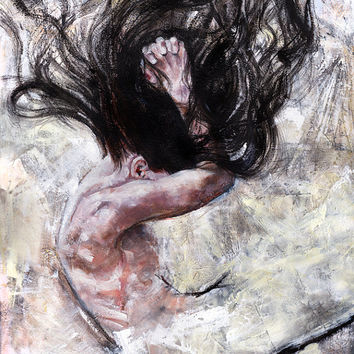 After We Fly, oil painting, 11x14, art print, portrait, figure, contemporary art, hair, falling, giclee, bedroom decor, wall decor, collage