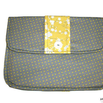 Yellow Branches or Lemon Leaves and Soft Gray Clutch Charmante Padded Tablet Cover Choose Your Print
